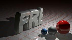Os FRANCESES escrevem o crescimento perto de três esferas coloridas - vídeo da rendição 3D