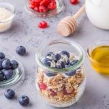 Os frascos de vidro da aveia lascam-se com fruto fresco, iogurte e mel Imagem de Stock Royalty Free