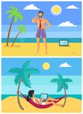 Os Freelancers equipam e mulher no vetor tropical da praia ilustração royalty free