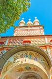 Os fresco na igreja da porta de St Sergius Lavra em Sergiyev Posa Foto de Stock
