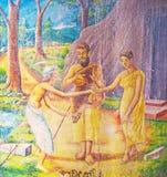 Os fresco no santuário de Vijayothpaya Fotos de Stock Royalty Free