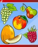 Os frutos ajustaram a ilustração dos desenhos animados Imagem de Stock Royalty Free