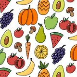 os frutos dos vegetais entregam o teste padrão tirado do vetor colorido ilustração do vetor