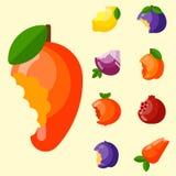 Os frutos mordidos vector a agricultura da nutrição do corte do alimento e do vegetal da vitamina bited pelo petisco delicioso do ilustração stock