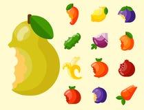 Os frutos mordidos vector a agricultura da nutrição do corte do alimento e do vegetal da vitamina bited pelo petisco delicioso do ilustração royalty free