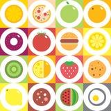 Os frutos, os vegetais, os pratos e o ícone redondos coloridos do alimento ajustaram-se para o mercado ou o café Fotos de Stock
