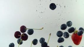 Os frutos saborosos diferentes caem na água no movimento lento com fundo branco Cereja da morango dos mirtilos filme