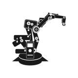 Os fundos abstraem a robótica do vetor, mão do robô, ícone do robô fotos de stock royalty free