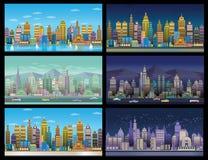 Os fundos do jogo da cidade ajustaram-se, 2d aplicação do jogo fotografia de stock royalty free