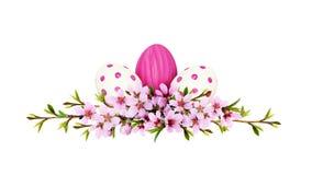 Os galhos da mola do pêssego florescem e as folhas adiantadas com ovos pintados foto de stock