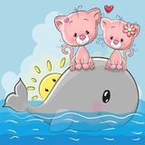 Os gatinhos bonitos dos desenhos animados estão sentando-se na baleia ilustração royalty free