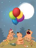 Os gatos comemoram desenhos animados do aniversário Foto de Stock Royalty Free