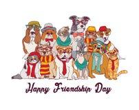 Os gatos e os cães do dia da amizade isolam o branco do grupo ilustração royalty free