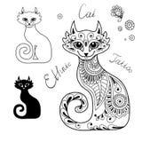 Os gatos no estilo étnico. ilustração stock