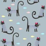 Os gatos parisienses e os peixes dos desenhos animados bonitos vector o fundo Foto de Stock