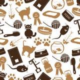Os gatos pets o teste padrão sem emenda eps10 da cor dos ícones simples dos artigos ilustração stock
