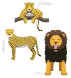 Os gatos selvagens ajustaram o leopardo Lion Cheetah Cartoon Vetora Illustration ilustração royalty free