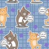 Os 2 gatos sem emenda são teste padrão feliz ilustração do vetor