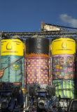 Os Gemeos on silo in Vancouver Royalty Free Stock Image