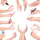 Os gestos de mão ajustaram-se, isolado Fotografia de Stock Royalty Free