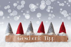 Os gnomos, fundo de prata, Bokeh, estrelas, Geschenk Tipp significam a ponta do presente Foto de Stock