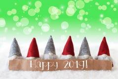 Os gnomos, fundo verde, Bokeh, estrelas, Text 2019 feliz fotografia de stock royalty free