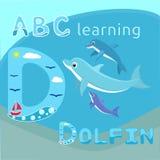 Os golfinhos do bebê com o golfinho bonito dos desenhos animados da família do golfinho da mãe vector a família feliz VE do tema  Fotos de Stock Royalty Free