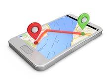 Os gps brancos do smartphone traçam e os pinos na tela Fotos de Stock