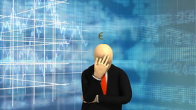 Os gráficos animados que mostram 3d equipam a posição e o pensamento do dinheiro ilustração royalty free