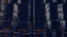 Os gráficos 3d do movimento deram laços na animação como o fundo em 4k com cubos simples e profundidade de campo composição escur filme