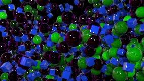 Os gráficos 3d do movimento deram laços na animação como o fundo em 4k com esferas simples e profundidade de campo muitos esferas vídeos de arquivo