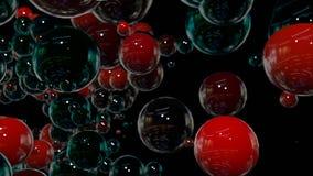 Os gráficos 3d do movimento deram laços na animação como o fundo em 4k com esferas simples e profundidade de campo muitos preto e vídeos de arquivo