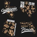 Os gráficos da tipografia de Califórnia, de Texas, de Arizona e de Florida ajustaram-se para o t-shirt, roupa Cópia para o fato c Foto de Stock Royalty Free