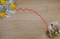 Os gráficos das ilustrações no dinheiro e nas moedas o símbolo da corrupção em Rússia - pato foto de stock