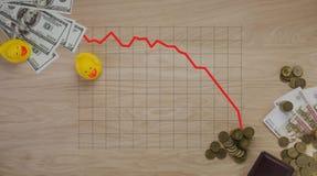 Os gráficos das ilustrações no dinheiro e nas moedas o símbolo da corrupção em Rússia - pato Imagens de Stock Royalty Free