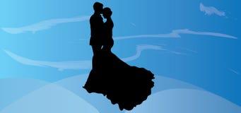 Os gráficos românticos do amor das imagens das ilustrações do eps das imagens do Valentim da silhueta dos pares do vetor do casam Fotografia de Stock