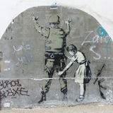 Os grafittis de Banksy aproximam a parede de separação, Bethlehem, Israel fotos de stock