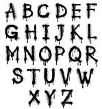 Os grafittis espirram o alfabeto do vetor, fonte, texto do grunge ilustração stock