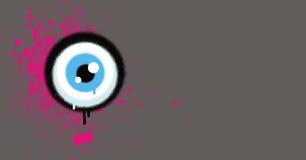 Os grafittis eyeball com grunge cor-de-rosa da pintura no cinza ilustração stock
