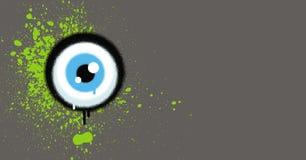 Os grafittis eyeball com grunge verde da pintura no cinza ilustração royalty free