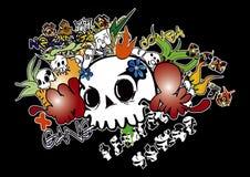 Os grafittis isolam-se na BG preta Imagens de Stock Royalty Free
