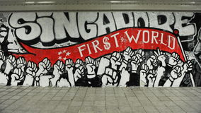 Os grafittis muram em Singapura Fotografia de Stock Royalty Free