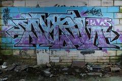 Os grafittis muram na construção abandonada Imagens de Stock