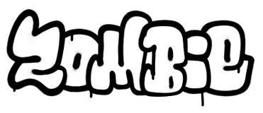 Os grafittis pulverizaram fontes do zombi no preto sobre o branco Imagem de Stock
