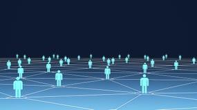 Os grandes símbolos do grupo de pessoas com conexão alinham no azul Fotos de Stock Royalty Free