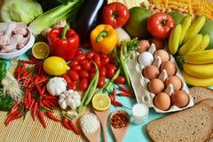 Os 5 grupos de alimento imagens de stock