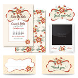 Os grupos do projeto do convite do casamento do vintage incluem o cartão do convite, apenas casado, obrigado cardar, apresentam o Imagens de Stock