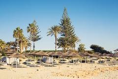 Os guarda-chuvas decorativos feitos da palma ramificam no fundo da praia Imagem de Stock Royalty Free
