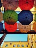 Os guarda-chuvas penduram no telhado fotos de stock royalty free
