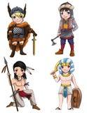 Os guerreiros da vária cultura ajustaram 2 Imagens de Stock Royalty Free